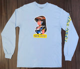 deluxe dream girl LONG SLEEVE t-shirt BABY BLUE