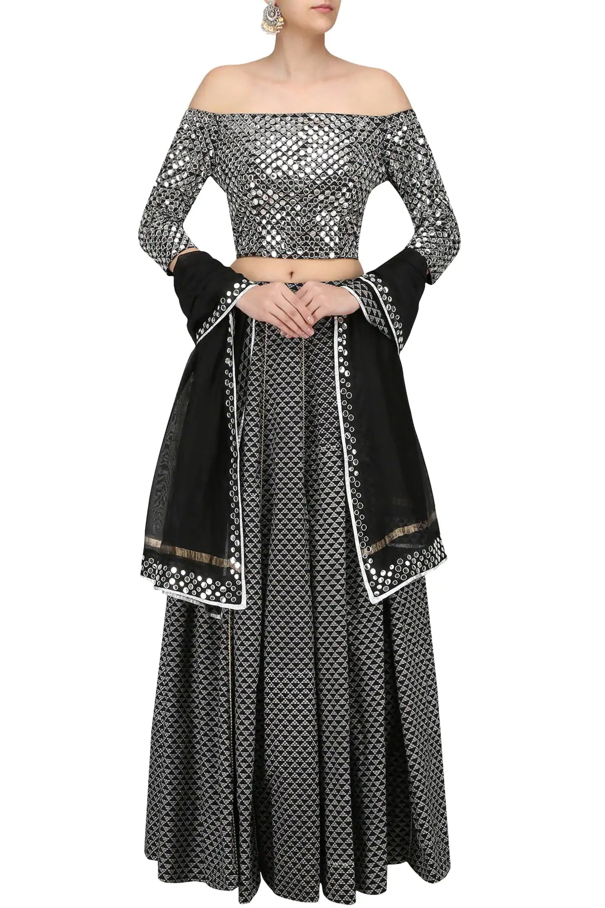 5bd60aba28 BLACK PEARL EMBROIDERED SKIRT AND OFF SHOULDER BLOUSE SET | Surendri.com