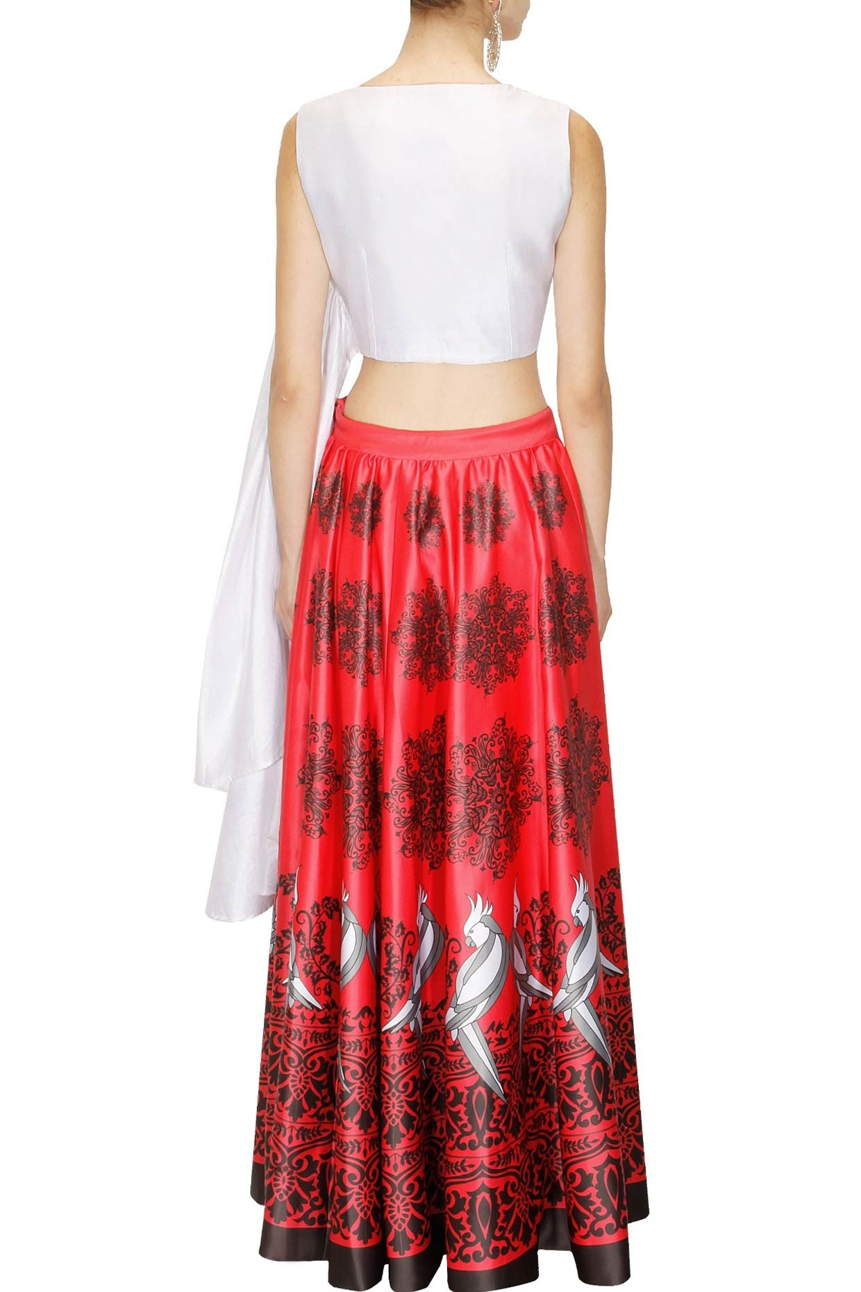 98c2e55c7123be PRINTED SKIRT-TOP SET RED