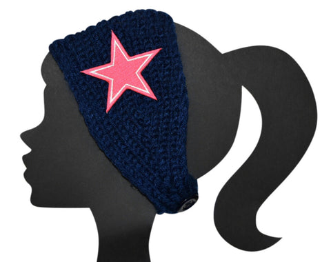 Cowboys Knit Headband Pink - Peachy Keen Boutique