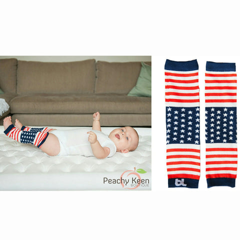Patriotic Baby Leg Warmers stars and stripes baby leggings- Peachy Keen Boutique