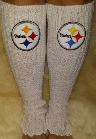Steelers Leg Warmers Boot Socks Embroidered Steelers NFL Logo Ladies Gameday Apparel Steelers Girls Clothing - Peachy Keen Boutique