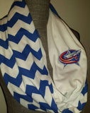 Columbus Blue Jackets Infinity Scarf Chevron Print NHL Ladies Accessories Hockey Girls Clothing - Peachy Keen Boutique