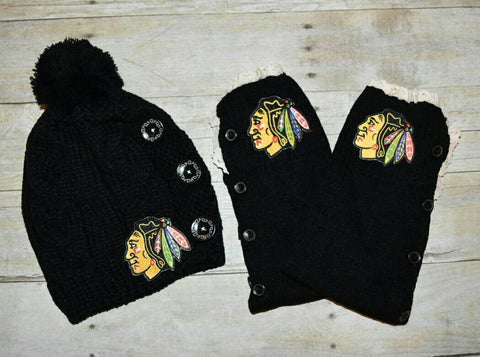 Blackhawks Leg Warmers and or Beanie - Peachy Keen Boutique