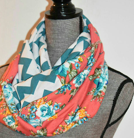 Romantic Coral Floral Scarf with Chevron Print Valentine's Day Gift - Peachy Keen Boutique