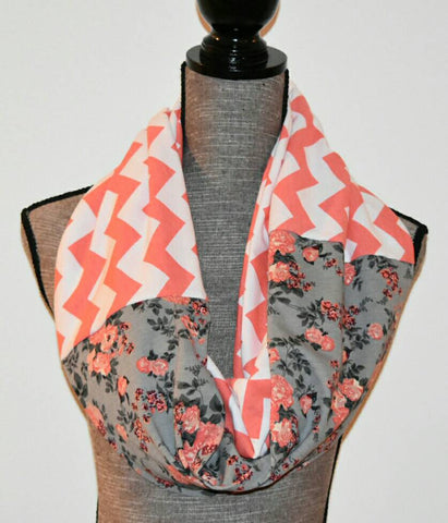 Romantic Charcoal Gray Floral Scarf with Coral Chevron Print Valentine's Day Gift - Peachy Keen Boutique