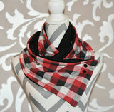 Red and Black Buffalo Plaid Side Snap Scarf Buffalo Plaid Spring Accessory Scarf - Peachy Keen Boutique