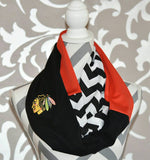 Chicago Blackhawks Scarf Infinity  Scarf with Optional Embroidered Logo Chevron Print - Peachy Keen Boutique