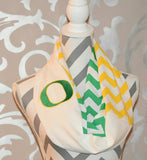 Oregon Ducks Scarf Infinity Scarf with Embroidered Ducks Logo Scarf Chevron Print Scarf - Peachy Keen Boutique