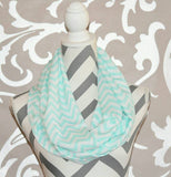 Chevron Scarf Light Blue and White Chevron Spring Scarf Soft Brushed Peach Skin Fabric Infinity Scarf - Peachy Keen Boutique