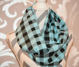 Baby Blue and Black Buffalo Scarf - Peachy Keen Boutique