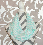 Pale Blue Chevron Scarf - Peachy Keen Boutique