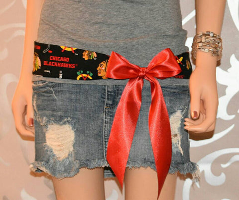 Blackhawks Ribbon Belt - Peachy Keen Boutique
