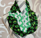 St Pattys Day Scarf with Shamrock Fabric Emerald Green Jersey Knit Chevron Print - Peachy Keen Boutique
