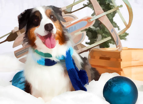 "Australian Shepherd Christmas - ""Ready to Sled"" (Design X026)"