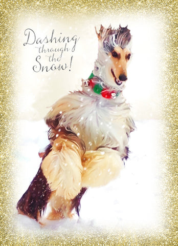 "Afghan Hound - ""Dashing Through the Snow"" (Design X056)"