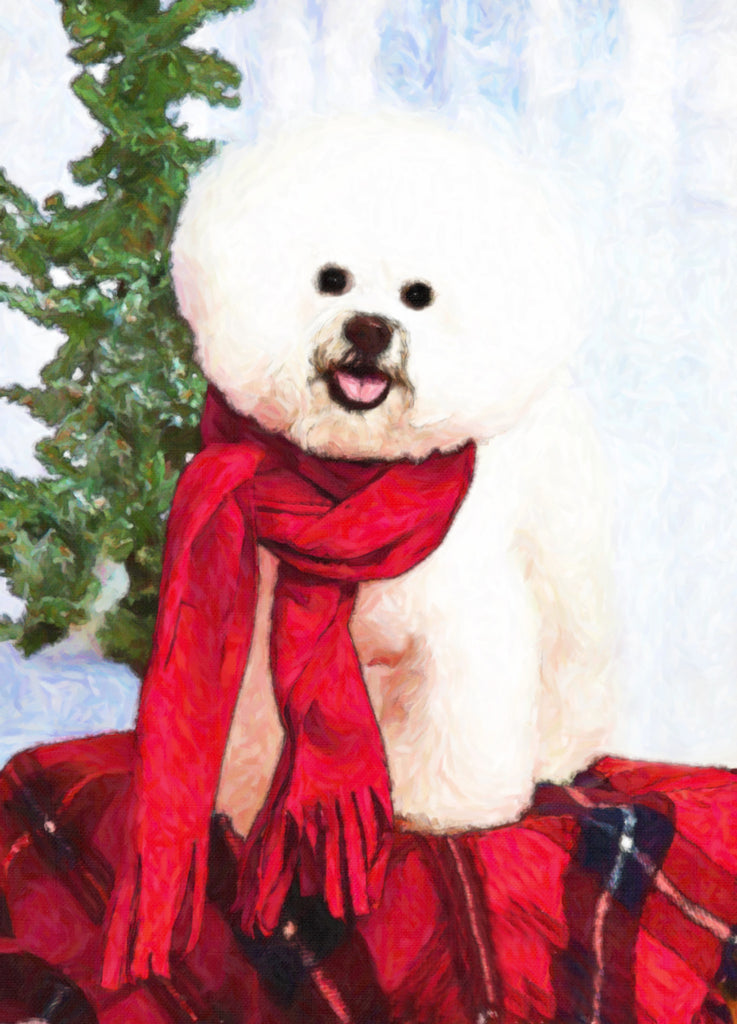 "Bichon Frise Christmas - ""Red Scarf"" (Design X001)"