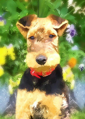 "Airedale Terrier Puppy - ""Garden Pose"" (Design 109)"