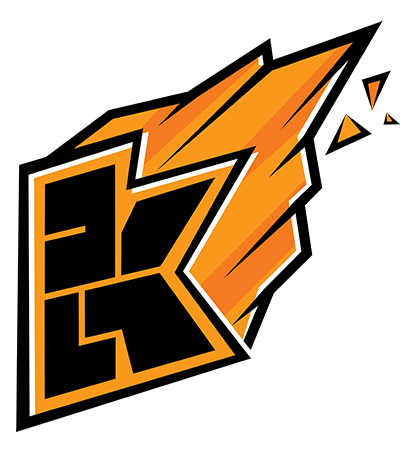 kwebbelkop logo, orange with black