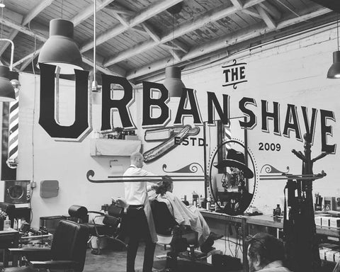the urban shave, james coffee, peter mckinnon, little italy, san diego, barber shot, shave set, shave soap