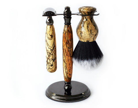 Spalted Tamarind Shave Set safety razor, 26mm lather brush and a matching shave stand.