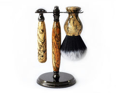 Spalted Tamarind Shave Set safety razor, 26mm lather brush and a matching shave stand. - CreationsByWill