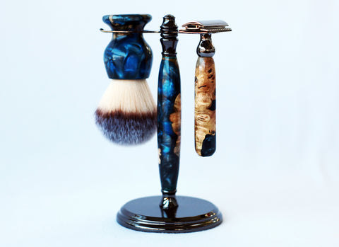 Buckeye Burl Shave Set with Blue Resin safety razor, 26mm lather brush and a matching shave stand.