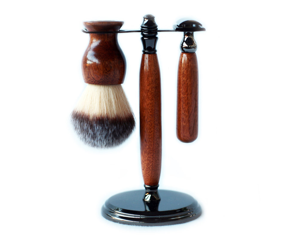 Mahogany Shave Set with Gunmetal safety razor, 26mm lather brush and a matching shave stand. - CreationsByWill