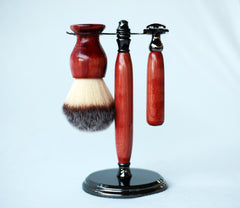 Aromatic Red Cedar Shave Set, safety razor, 26mm lather brush and a matching shave stand. - CreationsByWill