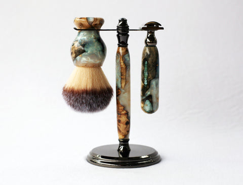 Buckeye Burl Shave Set with 'Travel to Jupiter'( pearl)Resin safety razor, 26mm lather brush and a matching shave stand.