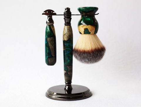 Buckeye Burl Shave Set with Green Resin safety razor, 26mm lather brush and a matching shave stand.