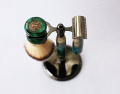 Buckeye Burl Shave Set with Green Resin safety razor, 26mm lather brush and a matching shave stand. - CreationsByWill