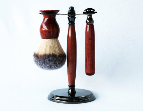 Aromatic Red Cedar Shave Set, safety razor, 26mm lather brush and a matching shave stand.