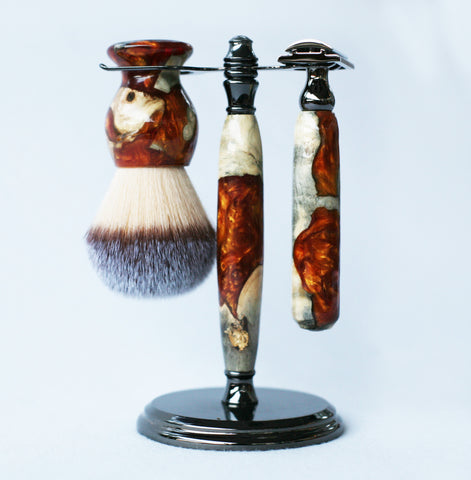 Buckeye Burl Shave Set with Gold and red swirl  Resin safety razor, 26mm lather brush and a matching shave stand.