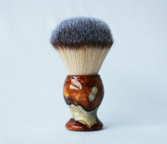 Buckeye Burl Shave Set with Gold and red swirl  Resin safety razor, 26mm lather brush and a matching shave stand. - CreationsByWill