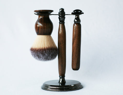 Walnut Shave Set with Gunmetal safety razor, 26mm lather brush and a matching shave stand.