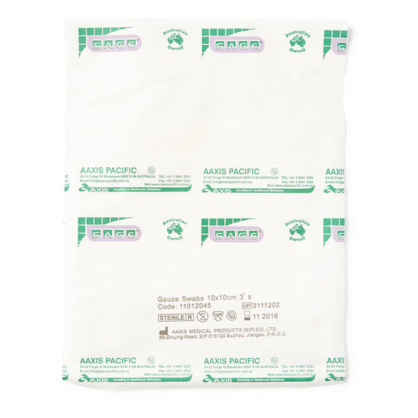 Gauze Swabs Sterile 10cm x 10cm 3 Pack - Wide - Student First Aid