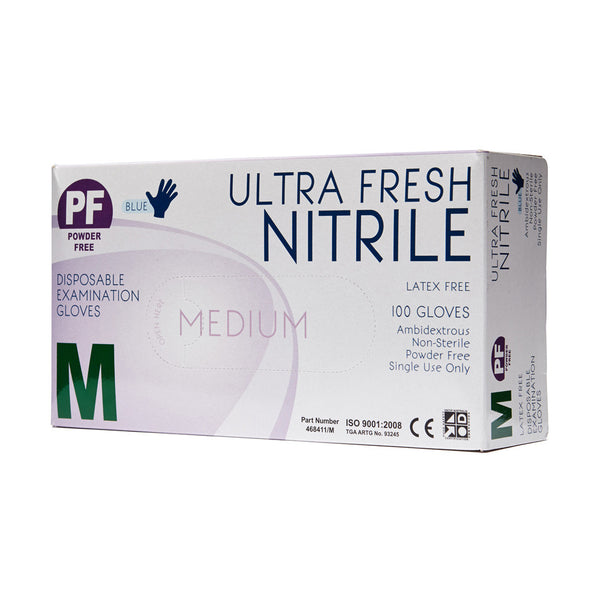 Nitrile Gloves Disposable Medium 100 Box - Wide - Student First Aid
