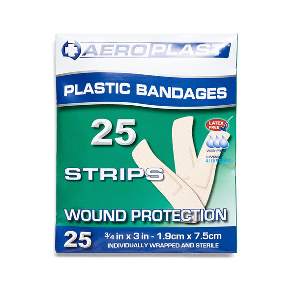 Plastic Dressing Strips Latex Free 1.9cm x 7.2cm (25) 10201004