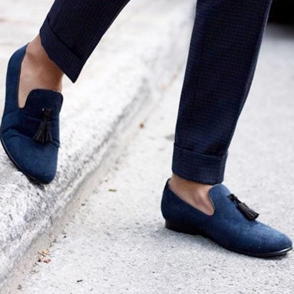 JENTS Men Blue Suede Penny Loafers for work