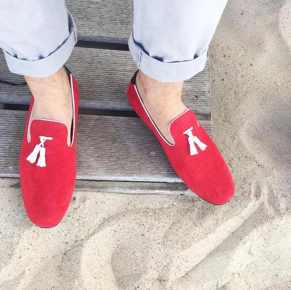 JENTS Men red suede loafer shoes