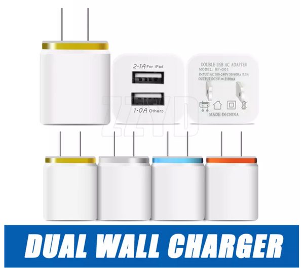 Dual USB Wall Charger 5V 2.1A 1A