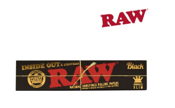 RAW BLACK INSIDE OUT KING SIZE SLIM ROLLING PAPERS