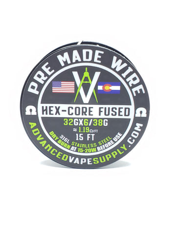 "AVS SPOOLED ""HEX CORE PARALLEL FUSED CLAPTON 316L SS"""