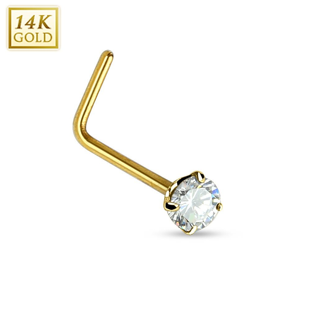 Nose Ring 20g 14Kt. Gold L Bend Nose Ring with Prong Set Opal 2mm