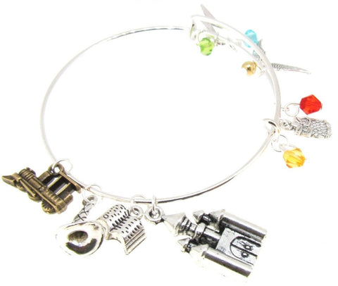 Expandable Bangle Bracelet Castle Wing Owl Train Silver Plate beads