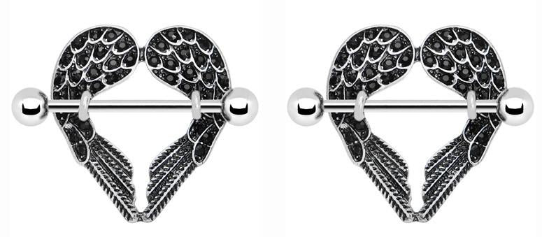 Body Accentz Nipple Ring Angel Wings bar body Jewelry sold as Pair 14g CZ