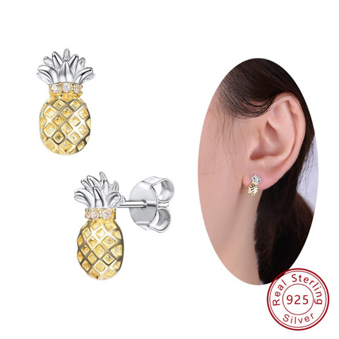 925 Sterling Silver 3D Pineapple Earrings Tropical Fruit Stud Earring Cute  Jewelry Best Friend