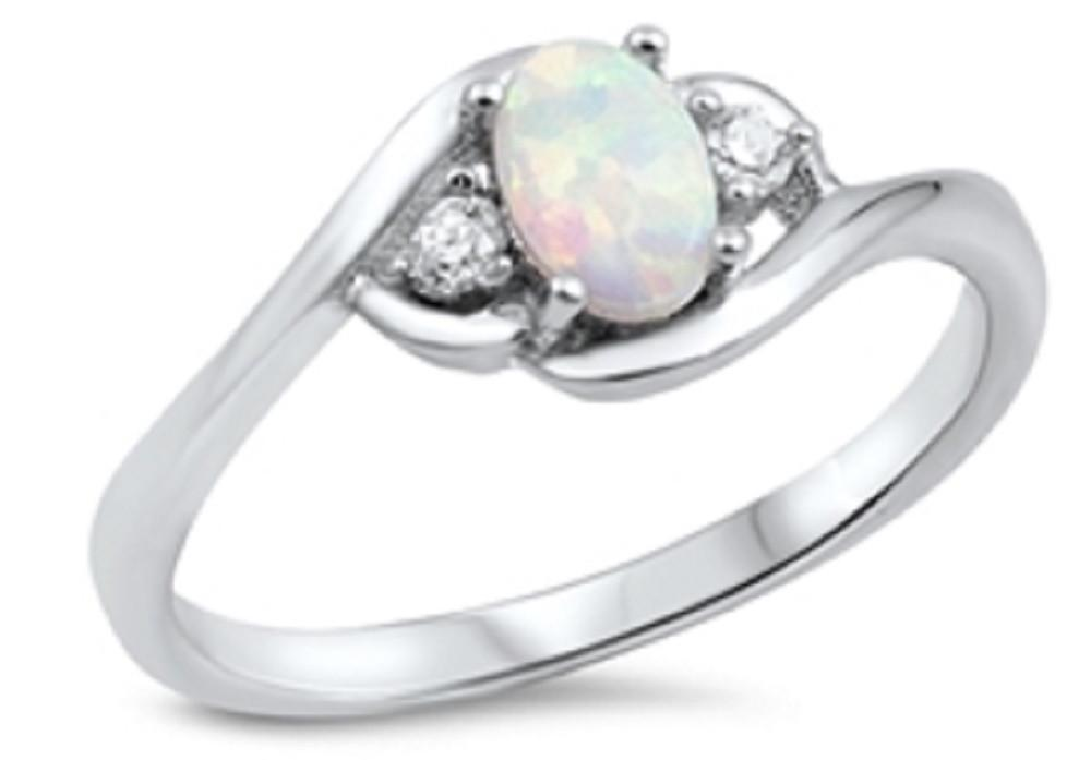 Sterling Silver Ring -   -White Lab Opal, Clear CZ