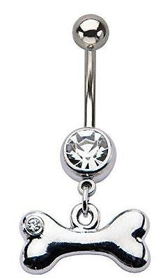 14g 7/16's Navel with Clear Gem Dog Bone Dangle Charm Belly Button ring